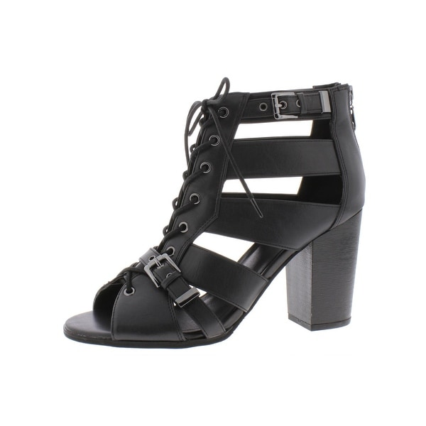 Shop Guess Womens Portlyn Dress Sandals Faux Leather Lace ...