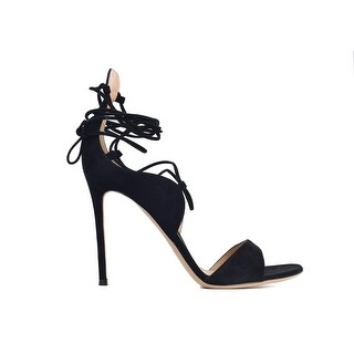 Gianvito Rossi Womens Black Suede Lace Ankle Wrap Sandal Pumps
