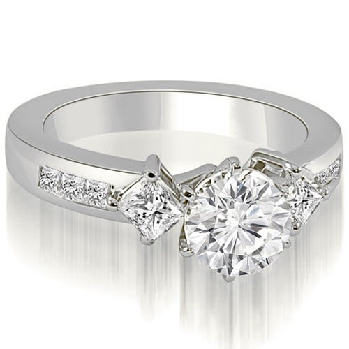 1.65 cttw. 14K White Gold Round and Princess cut Diamond Engagement Ring