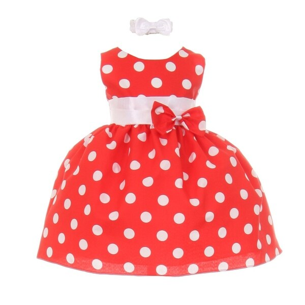 Baby Girls Red White Polka Dot Bow Sash Headband Special Occasion Dress 3-24M