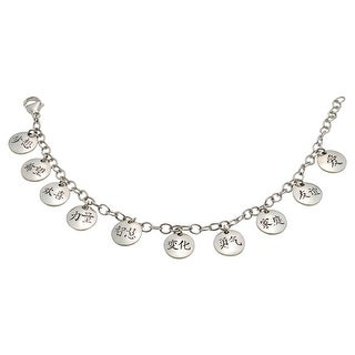 Women's Kanji Ten Charms Bracelet - Sterling Silver Charm Bracelet