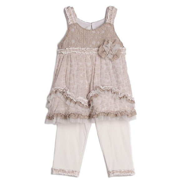Isobella & Chloe Baby Girls Taupe Cheetah Lace Ruffle 2 Pc Outfit Set