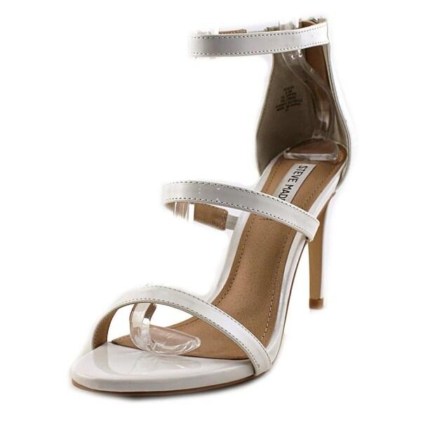 Steve Madden Feel Ya Women Open Toe Patent Leather White Sandals