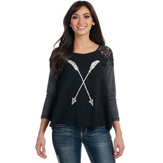 Cowgirl Up Western Shirt Womens Lace Back 3/4 Sleeves CG61006
