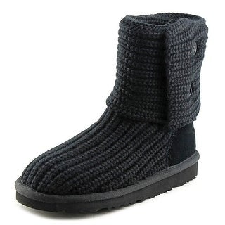 Ugg Australia Classic Cardy Youth Round Toe Canvas Black Winter Boot