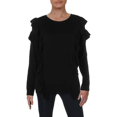 MICHAEL Michael Kors Womens Pullover Sweater Ruffled Crewneck - M