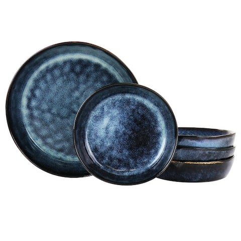 Elama Noemi 5 Piece Stoneware Pasta Bowl Set in Blue