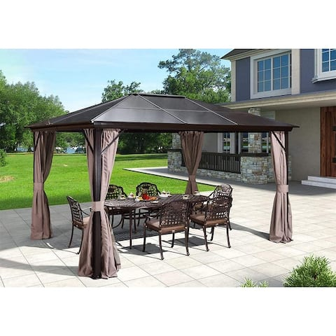 10'x12' Outdoor Hardtop Gazebo Canopy with Netting and Curtains