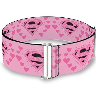 Superman Logo & Hearts Pink Black Cinch Waist Belt   ONE SIZE - One Size Fits most
