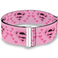 Superman Logo & Hearts Pink Black Cinch Waist Belt   ONE SIZE