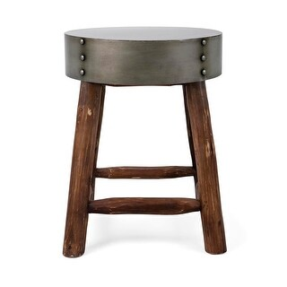 """18"""" Distressed Finish Metallic Gray and Wooden Brown Decorative Stool"""