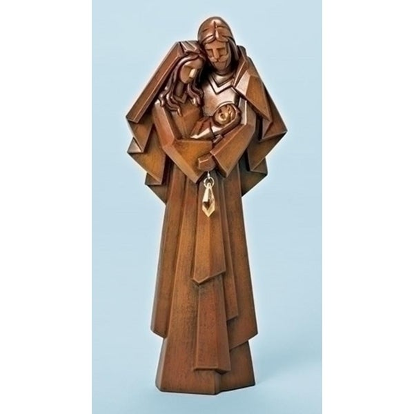 "11"" Faux Wood with Jewel Holy Family Christmas Table Top Decoration - brown"
