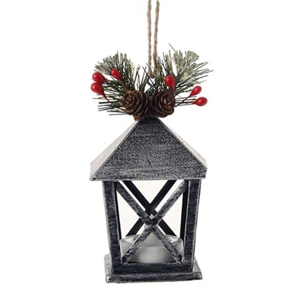 "4.5"" Country Cabin Lighted Black & Silver Distressed Mini Lantern Christmas Ornament"