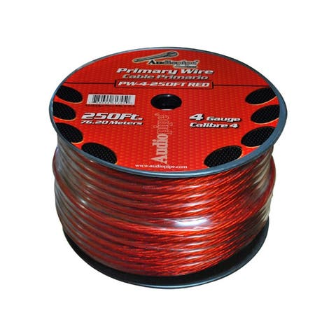 Nippon pw4rd power wire audiopipe 4ga 250' red