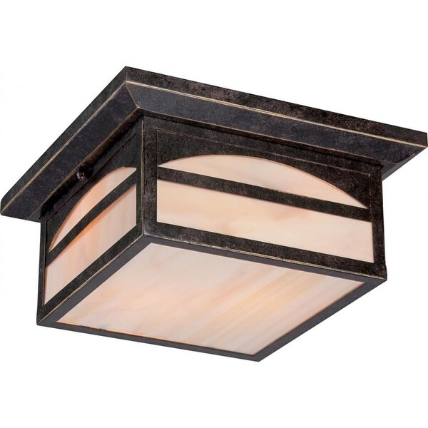 """Nuvo Lighting 60/5656 Canyon 2-Light 11-1/4"""" Wide Outdoor Flush Mount Square Ceiling Fixture with Colored Glass Shade"""
