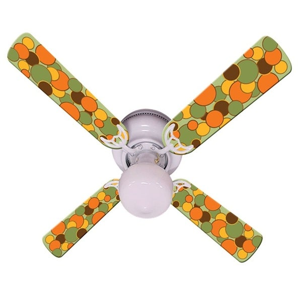 Green Orange Dot Print Blades 42in Ceiling Fan Light Kit - Multi