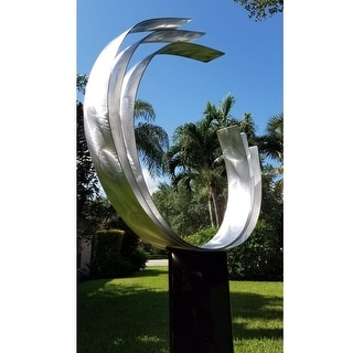 "Statements2000 Silver Abstract Metal Sculpture Modern Garden Decor Yard Art by Jon Allen - Triple C - 42"" x 18"" x 9"""