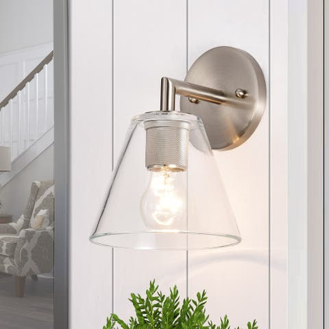 1-light Clear Glass Wall Armed Sconce