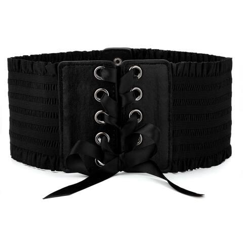 Women Wide Stretchy Waist Belt Button Lace Up Belts Dress Decoration - Black - Medium