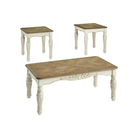 "Realyn Two-tone Occasional 3-Piece Table Set - 48""W x 26""D x 19""H"
