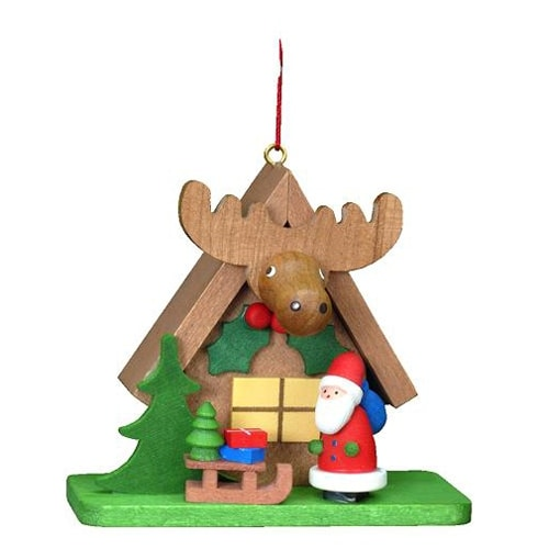 Santa with Elk House Ornament