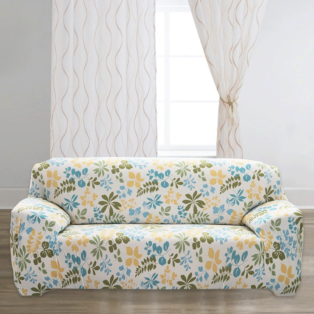 Unique Bargains Stretch 3 Seats Flower Pattern Sofa Cover Slipcovers Couch Protector Beige 74 90