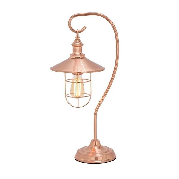 Shop Copper Finish Vintage Lantern Style Table Lamp W Edison Bulb 23