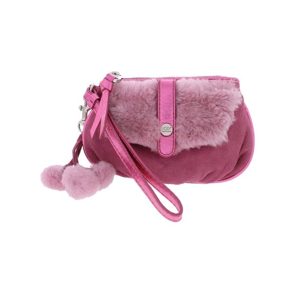Ugg Australia Womens Wristlet Wallet Suede Faux Fur - Small