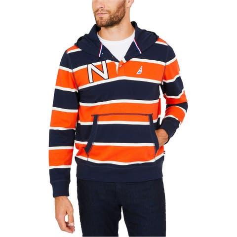 Nautica Mens Stripe Hoodie Sweatshirt, Orange, Small