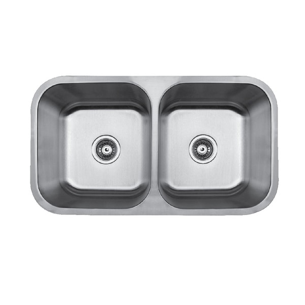 "Builder's Choice 32"" 50/50 Undermount Double Bowl Stainless Steel Sink"