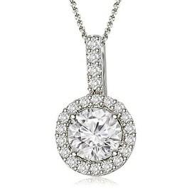 0.65 cttw. 14K White Gold Halo Round Diamond Pendant