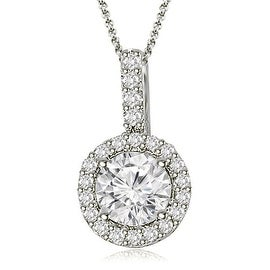 1.15 cttw. 14K White Gold Halo Round Diamond Pendant