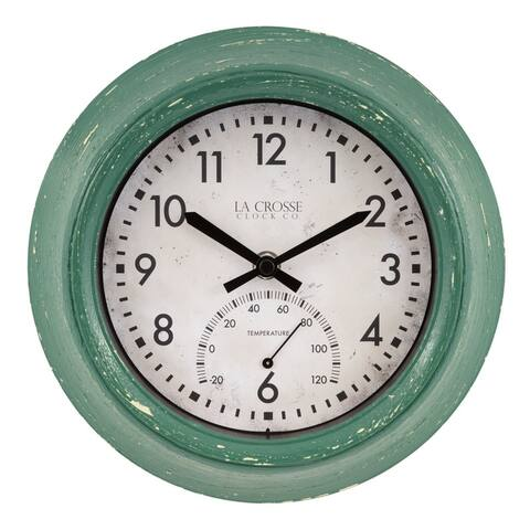 La Crosse Clock T82394 9-Inch Indoor/Outdoor Green Distressed Analog Clock with Thermometer