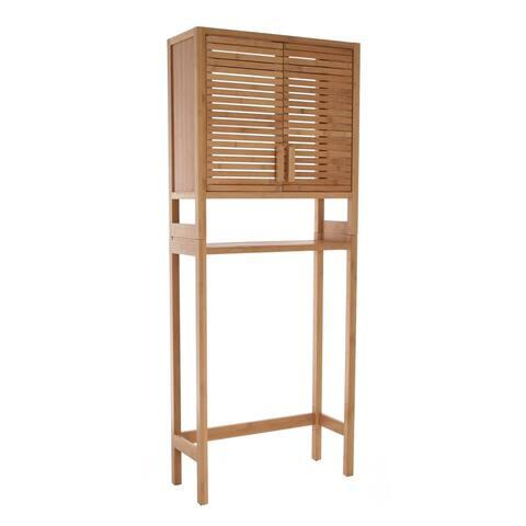 Zenvida Over Toilet Storage Cabinet Bathroom Organizer Natural Bamboo