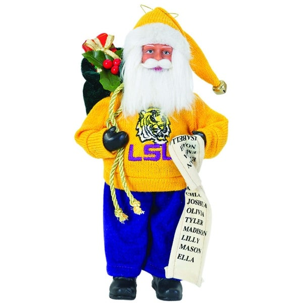 "9"" NCAA LSU Tigers Santa Claus with Good List Christmas Ornament - YELLOW"
