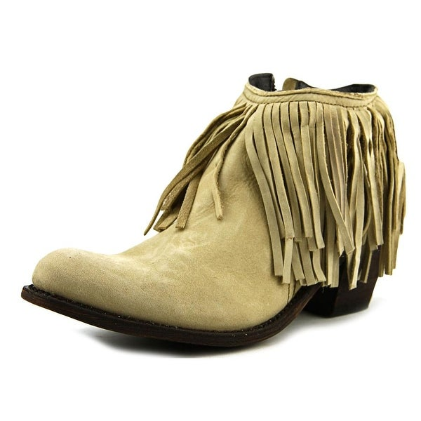 Independent Boot Company Margo Fringe Bootie Women Leather Nude Bootie
