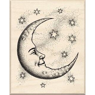 "Inkadinkado Mounted Rubber Stamp 2.5""X2""-Crescent Moon"