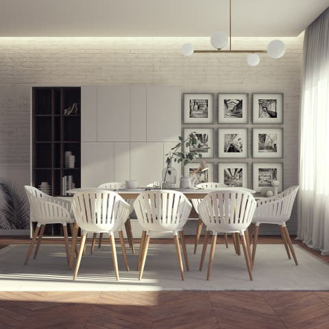 Midtown Concept Nordic 9 Piece Dining Set - White Cushions