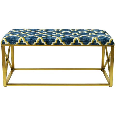 "Modern Fabric Upholstered Bench with Foam Padding, 42"" Wide"