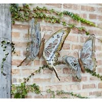 """Set of 2 Silver Assorted Distressed Finish Metallic Artificial Butterfly Wall Decor 15"""""""