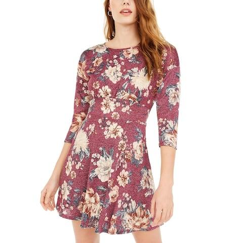 Be Bop Juniors' Sparkle Floral-Print Fit & Flare Dress Purple Size Small