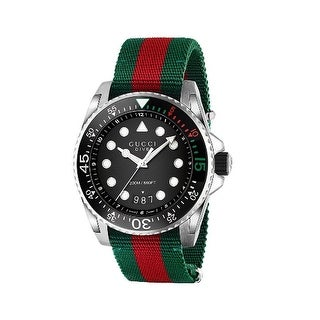 Link to Gucci Men's YA136209 'Dive XL' Red and Green Nylon Watch - Black Similar Items in Men's Watches