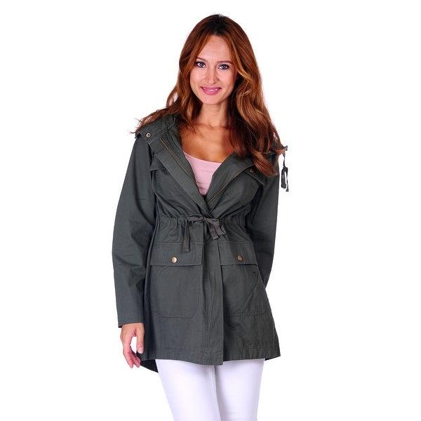 Simply Ravishing Hooded Military Jacket w/ Drawstring (Size: S - 3X)