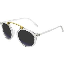 Women Ladies Sunglasses Wayfarer Clubmaster Bridgeless Cat Eye, Clear Smoke