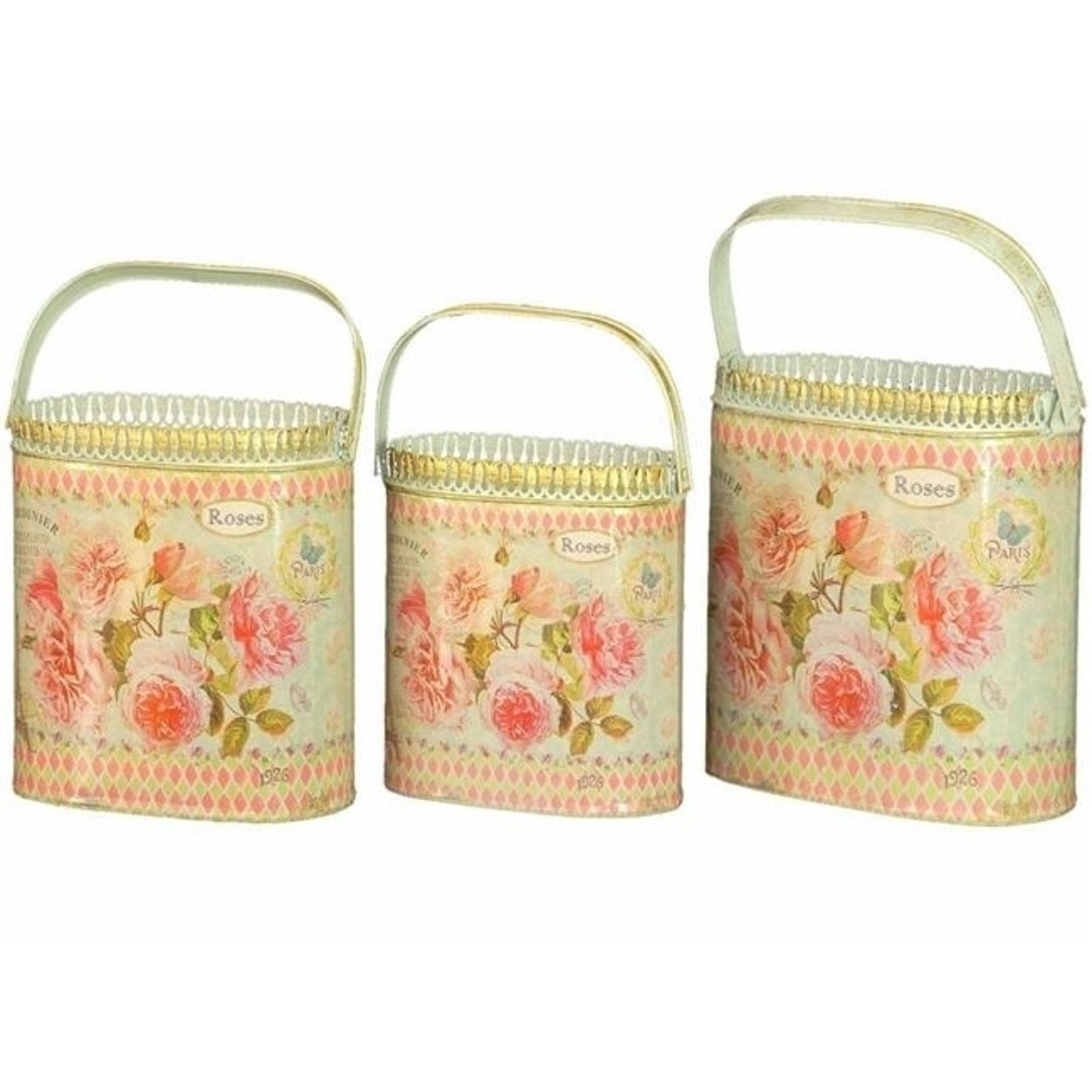 Dolce Mela Dmmv559 S3 French Country Planters Vintage Metal Decorative Containers Flower Pots Set Of 3