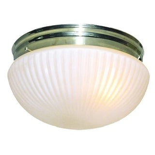 "Woodbridge Lighting 30003 Mushroom 1 Light 8"" Wide Single Flush Mount Ceiling Fixture with Ribbed White Glass Bowl Shade"