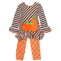 Rare Editions Baby Girls Brown Stripe Pumpkin Halloween 2 Pc Outfit