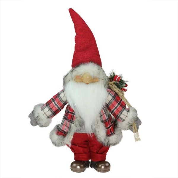 "21"" Red and Gray ""Merry Matthew"" Gnome Christmas Tabletop Decoration"