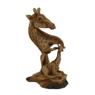 Carved Wood Look Mother Giraffe and Calf Tabletop Statue - 8 X 4.5 X 3.25 inches