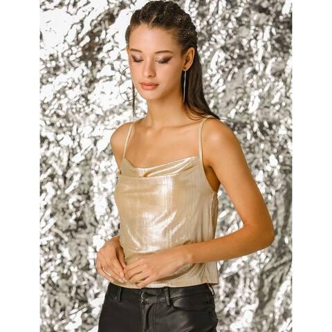 Allegra K Women's Metallic Glitter Spaghetti Strap Cami Top